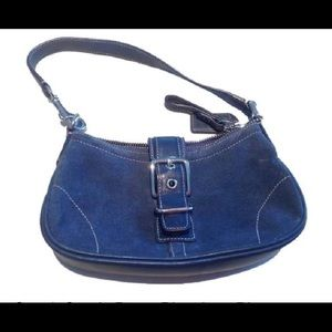 Coach Suede Blue Jean Blue Leather Shoulder Bag